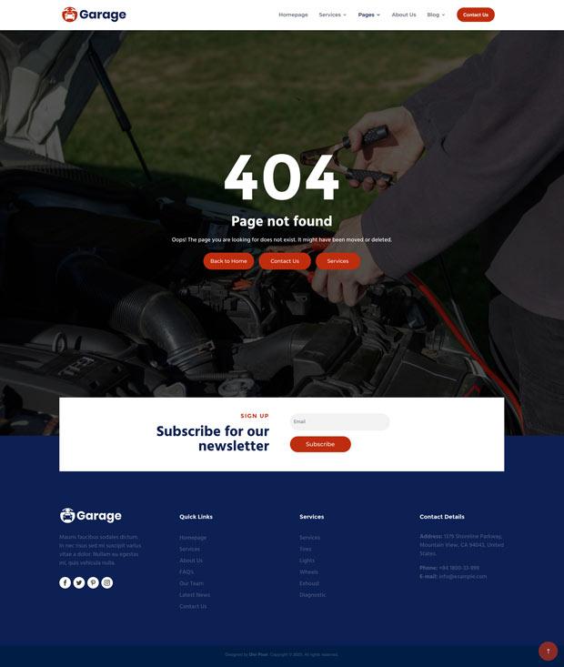 Garage 404 Page