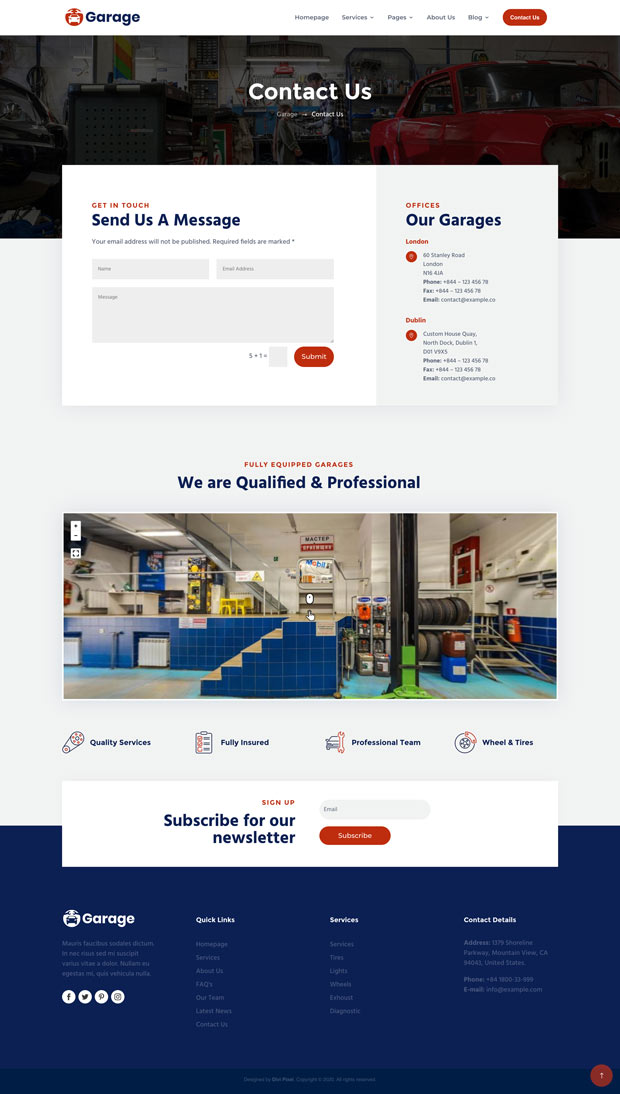 Garage Contact Page