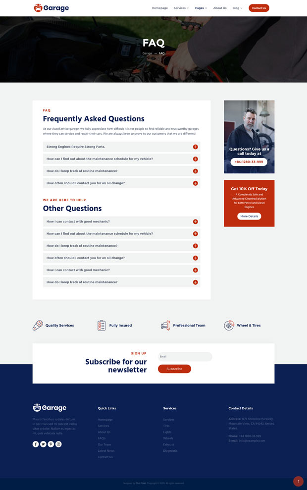 Garage FAQ Page