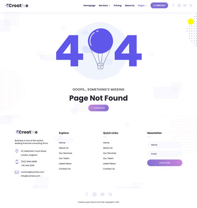 Creative Layout Pack 404 Page