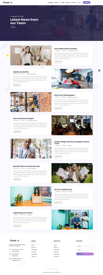 Creative Layout Pack Blog List View