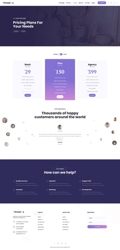 Creative Layout Pack Pricing Page