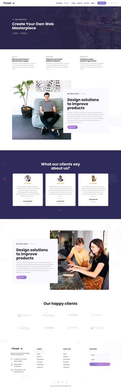Creative Layout Pack Services Page
