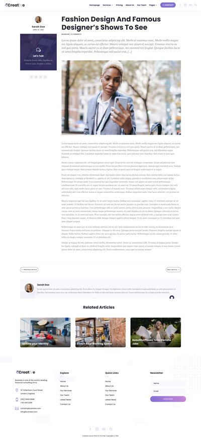 Creative Layout Pack Single Post Page